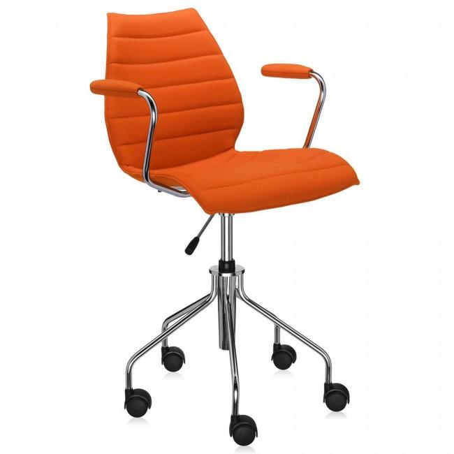 Kartell Maui Soft bureaustoel -Trevira oranje-Met armleuning